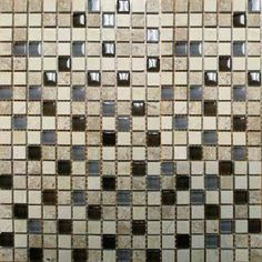Cafe Noche Blend Mosaic Polished/Crystalized Travertine Glass Mosaic Tile.