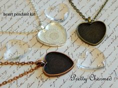 20 Heart Pendant Kits  1 Inch Blank Trays with by PrettyCharmed