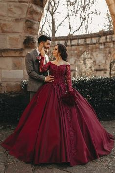 Elegant Maroon Wedding Dress Lace Long Sleeves Off The Shoulder Burgundy Satin Ball Gown For Bride Sequin Prom Dresses, Quinceanera Dresses, Bridesmaid Dresses, Colored Wedding Dress, White Wedding Dresses, Tulle Ball Gown, Ball Gowns Prom, Burgundy Wedding, Maroon Wedding