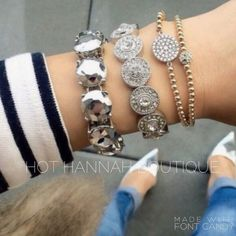 Bracelet- Platinum Metallic ALL JEWELRY IS BUY 2 GET 1 FREE PAIR OF EARRINGS! This bracelet is a brand new retail item! We only use the highest quality crystals & stones for all of our jewelry, giving our pieces lots of sparkle and an expensive look! Every piece has been given the upmost time and care when created and has been made and designed with quality and durability in mind. Every piece is nickel and lead free. Almost every item is an exclusive item; meaning once sold its gone for…