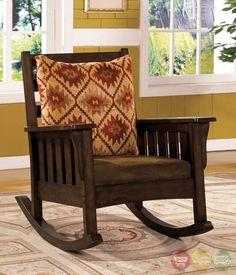Morrisville Mission Dark Oak Rocking Chair w/Removable Fabric Cushion