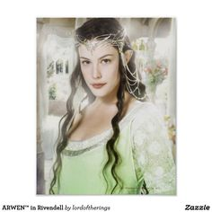 """""""ARWEN™ in Rivendell"""" Poster. She is wearing here her Coronation Dress/Gown that we saw it on """"Return Of The King"""" (2004), the last, third episode of """"The Lord Of The Rings"""" Trilogy. It is designed by TLotR™ store & printed on 122 gsm, 0.19 mm thick poster paper. 