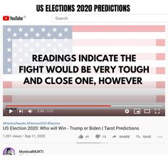 Election Results, Us Election, Tarot Prediction, Who Will Win, Reading, Youtube, Reading Books, Youtubers, Youtube Movies