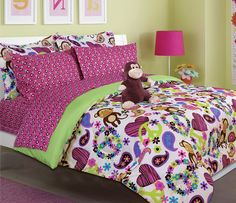 Girl's peace, love and monkey print comforter set with sheet set (twin size) //Price: $35.27 & FREE Shipping //     #bedding