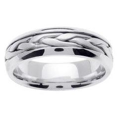 14k White Gold Men's Braided Wedding Band - Overstock™ Shopping - Big Discounts on Men's Rings