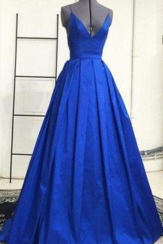 Sexy Prom Dress,Sleeveless Open Back Royal Blue Evening