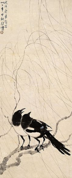 徐悲鸿 柳树双喜 by China Online Museum - Xu Beihong