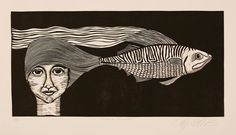 linocut, Fishical emotion, black and white, portrait, fish, contemporary art, black, cream, printmaking, modern art, home interior, stripes