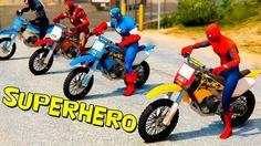 Spiderman with Superheroes in pursuit of Joker - Motorbikes Cars and Tru...