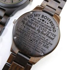 Engraved Wooden Watch – Great Gift For Your Boyfriend – Forever Love Gifts