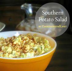 Mom's Southern Style Potato Salad - russet potatoes - dill pickles - onion - Mayo - mustard - salt - pepper - 6 eggs - paprika - Southern Kitchen