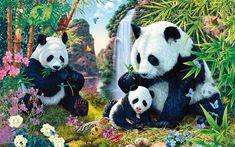 Download wallpapers pandas, mother and cub, art, cute animals, Panda Valley, small panda, Ailuropoda