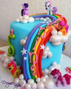 8 Lil Pony Themed Cakes Photo - My Little Pony Birthday Cake, My Little Pony Theme Cake and My Little Pony Cake Little Girl Birthday Cakes, Little Girl Cakes, 6th Birthday Cakes, My Little Pony Cake, Geek Birthday, Raimbow Dash, Themed Cakes, Mlp Cake, Cake Ideas