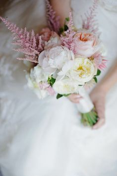 Astilbe, garden roses, and peonies.