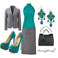 MICHAEL KORS Aquamarine Silk Halter Top/Aqua shoes and earrings/grey skirt and blazer