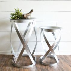 Galvanized Round Nesting Tables, Set of 2