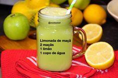 Limonada de maçã  O limão é como um detergente do organismo, ou seja, a fruta ajuda a eliminar as toxinas do corpo.  A maçã auxilia no emagrecimento.A quercetina presente na casca da maçã é um antioxidante que aumenta a sensação de saciedade.  Receita de limonada de maçã  2 maçãs  1 limão sem casca e sem sementes  1 copo de água  1 rodela de gengibre pequena( opcional) Gelo ( opcional) Modo de fazer coloque tudo no liquidificador e bata por 3-4 minutos e coe se achar necessário.