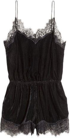 H&M Velvet Bodysuit - Black - attractive lingerie, women on lingerie, fantasy lingerie *ad