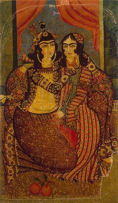 Amorous Couple Painting, Oil on canvas, cm Origin: Iran, Early century, Qajar Dynasty Qajar Dynasty, Purple Carpet, Oriental, Couple Painting, Persian Culture, Iranian Art, Ancient Art, Islamic Art, Oil On Canvas