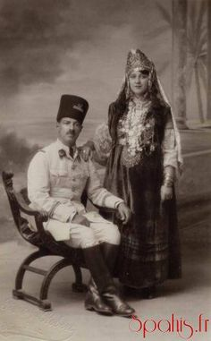 A Native Lieutenant of 4th Regiment Spahi Tunisians, photographed in 1931 with his wife.
