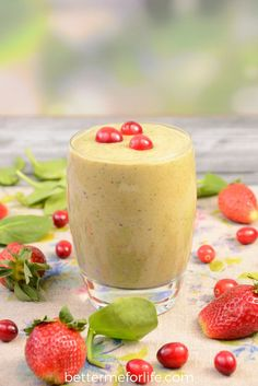 This cranberry strawberry green smoothie is a delightful combination of sweet and tart with a touch of cinnamon. The fiber in it will keep you feeling full. Find the recipe on BetterMeforLife.com