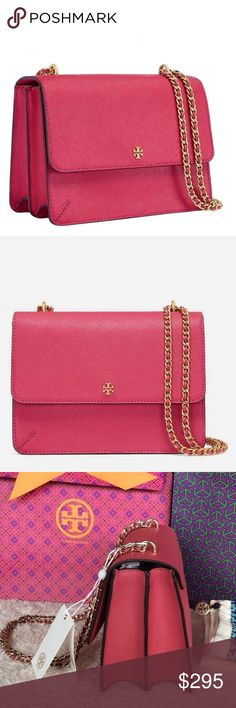 NEW TORY BURCH ROBINSON CONVERTIBLE SHOULDER BAG Brand new with tags. This bag will come with dust bad, gift bag and shopping bag. Color: Dark Peony PLEASE NO TRADE. THE PRICE IS FIRM.   It's a modern classic. The epitome of understated chic, it is made of the highest-quality, scratch-resistant leather. The chain strap is adjustable, so it can be worn doubled or long and cross-body -- perfect for days on the go or evenings out.  Saffiano leather  Flap with magnetic snap closure  Adjustable…