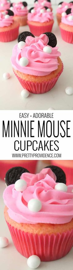 How amazing are these Minnie Mouse cupcakes? SUPER EASY to throw together, too! These Minnie Mouse cupcakes using mini oreos are so cute! Perfect for a Minnie Mouse birthday party or just for fun! Cupcake Recipes, Dessert Recipes, Picnic Recipes, Baking Desserts, Party Desserts, Health Desserts, Minnie Mouse Cake, Mickey Mouse, Mickey Cakes