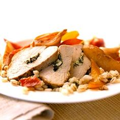 Pork with Pears and Honey.Stuffed pork and barley make for a satisfying dinner that's low in fat and high in fiber.