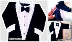 ÖRGÜ TUNUS İŞİ SMOKİN ÇOCUK HIRKA YAPILIŞI TÜRKÇE VİDEOLU Crochet For Boys, Knitting For Kids, Baby Knitting Patterns, Knitting Designs, Crochet Baby, Knit Crochet, S Mo, Baby Sweaters, Black Tie