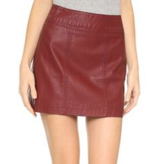 Free People Vegan Leather Mini Skirt Vegan leather mini. zipper on back Free People Skirts Mini