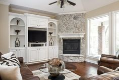 New Photographs Corner Fireplace mid century Ideas Corner fireplaces offer myria., fireplace makeover New Photographs Corner Fireplace mid century Ideas Corner fireplaces offer myria. Corner Fireplace Layout, Tv Above Fireplace, Tall Fireplace, Fireplace Built Ins, Farmhouse Fireplace, Fireplace Hearth, Modern Fireplace, Living Room With Fireplace, Fireplace Design