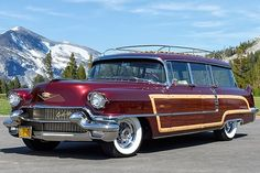 1956 Cadillac Viewmaster Wagon Chantilli Metallic Front View On Pavement By Forest Mountains Mercedes S320, Station Wagon Cars, Automobile, Woody Wagon, American Classic Cars, Classic Chevy Trucks, Us Cars, Vintage Trucks, Vintage Motorcycles