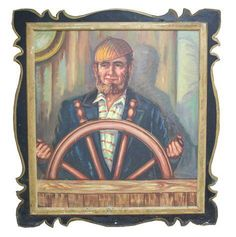 Salvaged Carousel Panel with Captain on Chairish.com