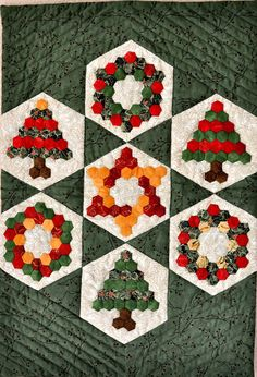 Christmas Hexagons Mini Quilt Art Quilt by IslandTimeFabricArt