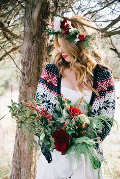 Stay warm during your winter photo shoot with a patterned sweater.