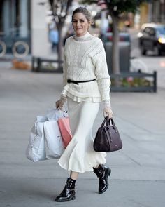 Olivia Palermo wearing Olivia Palermo + Lace Turtleneck Top, Max&Co. Boston Bag, Dior Rebelle Army Boots, Olivia Palermo + Ladder Stitch Wool & Cashmere Sweater and Olivia Palermo + Fluted Wool Blend Skirt Estilo Olivia Palermo, Look Olivia Palermo, Olivia Palermo Lookbook, Olivia Palermo Winter Style, Look Street Style, Street Looks, Street Styles, Sexy Rock, Sport Chic