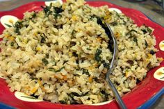 Spinach and Lemon Rice Pilaf from Food.com: Great side dish for roast or grilled chicken, grilled steak or fish. The vegetables and lemon give a wonderful fresh garden taste. You can vary the amounts of the veggies to your taste. I use just a little more rice to stock than usual as I prefer a slightly drier pilaf.