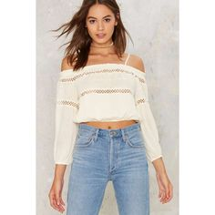 Throwing Crocheted Off-the-Shoulder Top (47 AUD) ❤ liked on Polyvore featuring tops, ivory, white off shoulder top, white top, off shoulder crop top, see through tops and off the shoulder tops