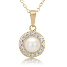 $14.99 - Pearl Diamond Accent 18K Gold Over Sterling Silver Pendant