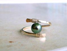 Fil perle bague minimaliste perle perle par BellaAnelaJewelry