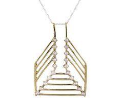 Twenty Pearls Plume Pendant Necklace
