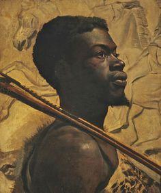 Walter Scott Boyd (British, born c. 1860), African Warrior, 1880. Oil on canvas, 61 x 50 cm.
