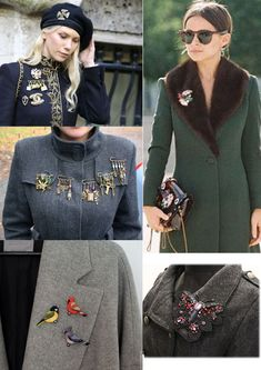 17 Simple Ideas for Vintage Brooches - Add Charming to Your Outfits Women's Brooches, Brooches Handmade, Vintage Brooches, Looks Style, My Style, Military Inspired Fashion, Beaded Brooch, Designer Dresses, Womens Fashion
