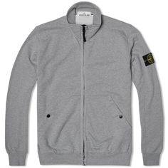 Stone Island Garment Dyed Cotton Fleece Zipped Track Sweat (Light Grey)