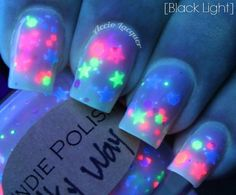 Milky way  -  Large bottle  -  Handmade - polish  - lacquer - neon - stars