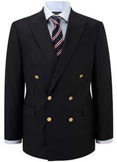Austin Reed Men's Clothing Regular Fit Navy Gold Button Blazer Blue Wool Business Long Sleeve Plain Notch Collar  Price:	£269.00 Suit Fashion, Mens Fashion, Black Suit Men, Suit Shoes, T Dress, Double Breasted Jacket, Navy Gold, Tailored Suits, Sports Jacket