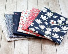 CHARLESTON RED Florals Fabric BUNDLE Magnolia Florals and