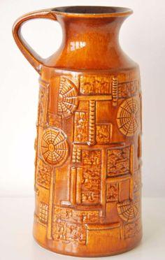 West German art pottery brown Bay Keramik vase Narvik fat lava mid century VTG