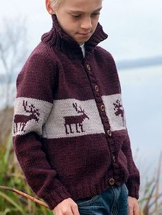 FREE Bradley pattern Knit in one colour ~ NO middle block colour and LEAVE OFF the reindeers but love the collar on this boys cardi plus the length.