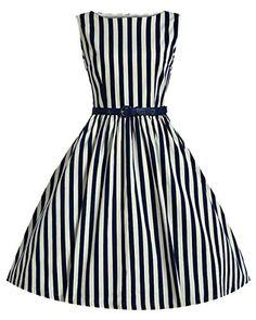 Betusline Women's Striped 50s 60s Rockabilly Prom Party Gown Swing Dress Blue